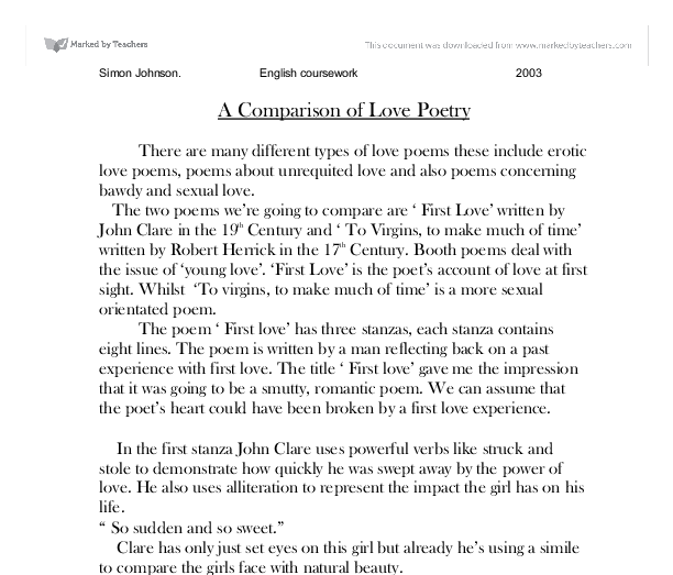 poetry comparison essay gcse So, what should you write how should you write you've got 45 minutes to write about two poems, answering a given question, like this one: compare how the.