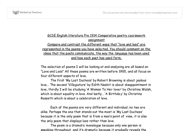 pre 1914 century poetry coursework essay Themselves imaginatively while demonstrating confident control of vocabulary, grammar, standard english and how to structure ideas effectively in both writing and speaking develop an enthusiastic and critical approach to reading through studying a range of modern and pre-1914 literature, including 19th-century novels.