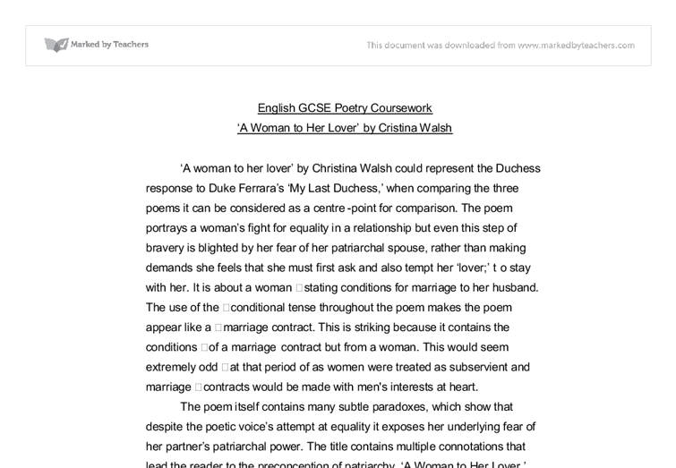 english coursework poems Poems on the theme of power and powerlessness  students write a critical  coursework essay comparing and contrasting texts studied in year 12 2 topic 2: .