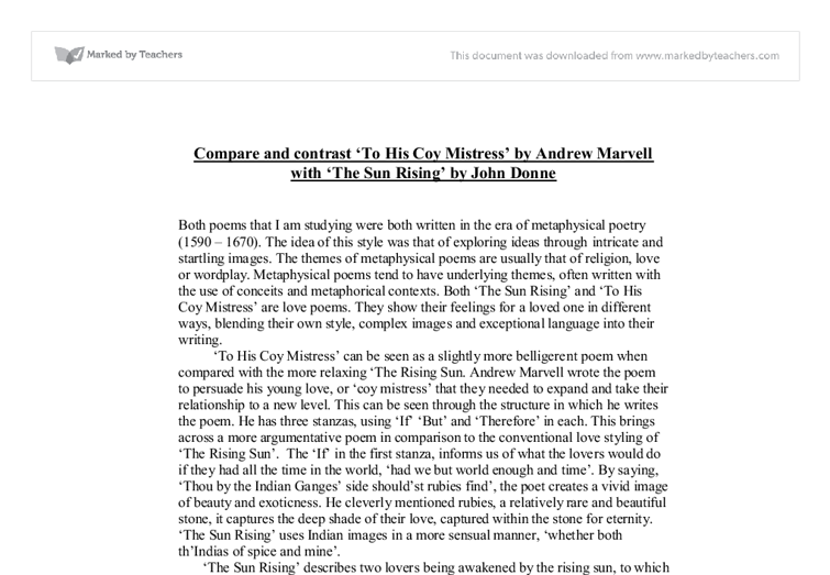Compare and contrast 'To his coy mistress' by Andrew Marvell and 'The Flea' by John Donne