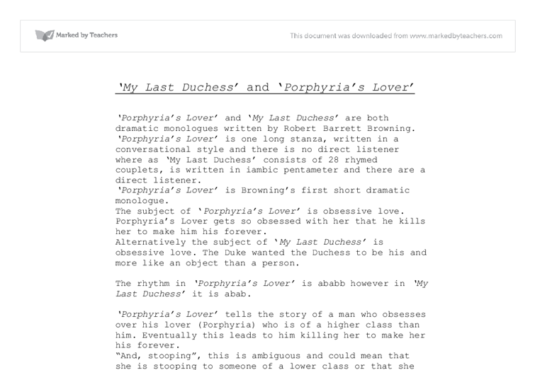 analyzing preferences in my last duchess by robert browning Robert browning: poems study guide contains a biography of poet robert browning, literature essays analysis my last duchess, published in 1842.