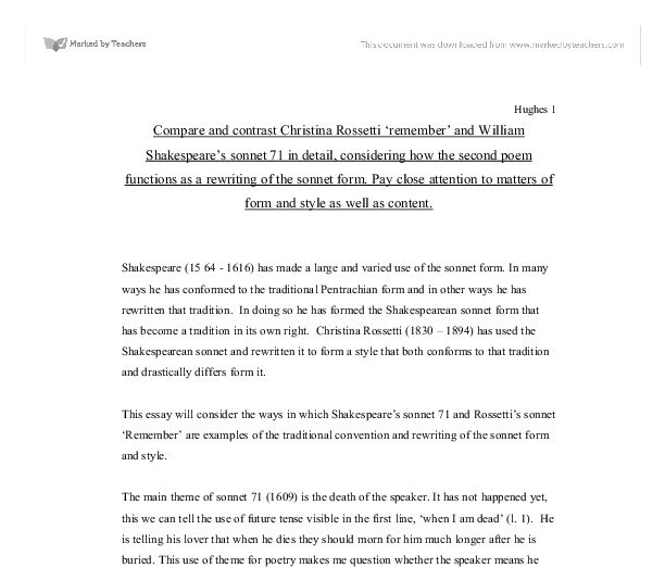 compare and contrast christina rossetti remember and william  document image preview