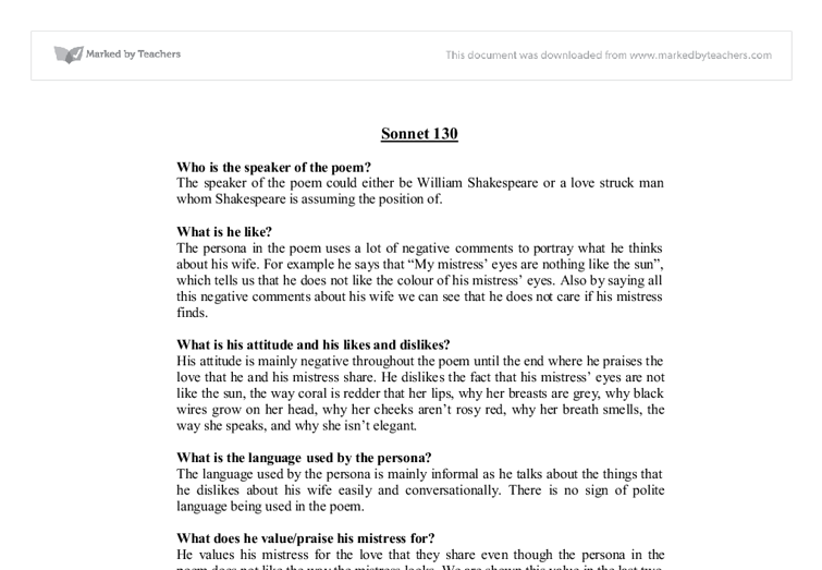 an analysis of sonnet 130 Shakespeare's sonnets by william shakespeare sonnet 130 summary and analysis sonnet 127 sonnet 128 sonnet 129 sonnet 130 sonnet 131 sonnet 132 sonnet 133.