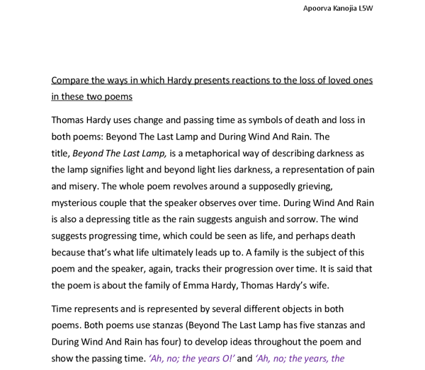 Thomas Hardy Uses Change And Passing Time As Symbols Of Death And
