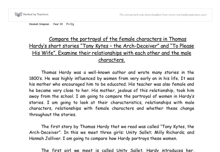 how thomas hardy portrays women in his stories essay This essay aims to discuss hardy's thematic depiction of class within the novel  tess of  thomas hardy presents his reader with three major characters  how  does hardy unfold the idea that 'a woman pays' in tess of the d'urbervilles   similarly, in perfume: the story of a murderer, patrick süskind portrays  grenouille,.