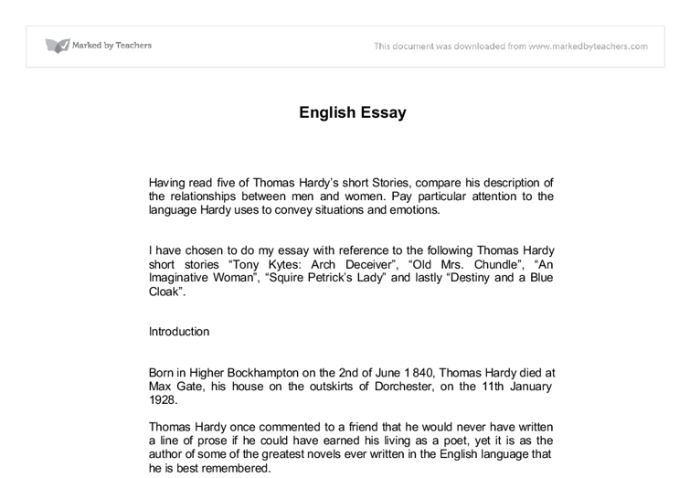 essay reference to the following thomas hardy short stories document image preview