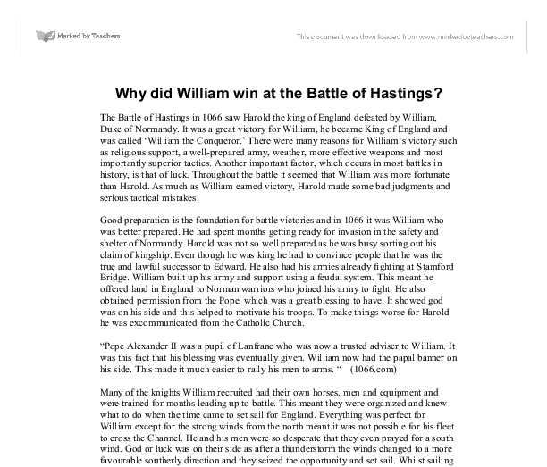 why did william win at the battle of hastings gcse english  document image preview