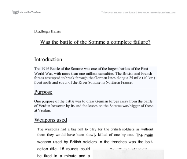 battle of the somme essay questions Find out more about the history of battle of the somme, including videos, interesting articles, pictures, historical features and more get all the facts.