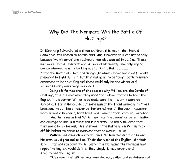 why did the normans win the battle of hastings gcse english  document image preview