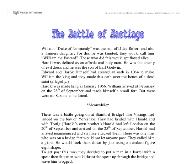 the battle of hastings gcse english marked by teachers com document image preview