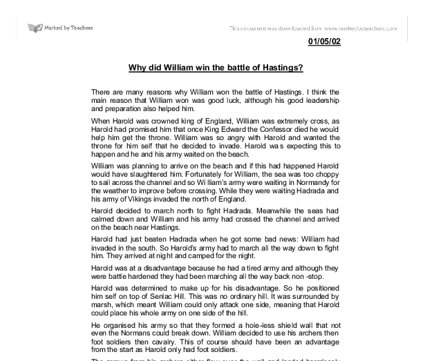 why did william win the battle of hastings gcse english  document image preview