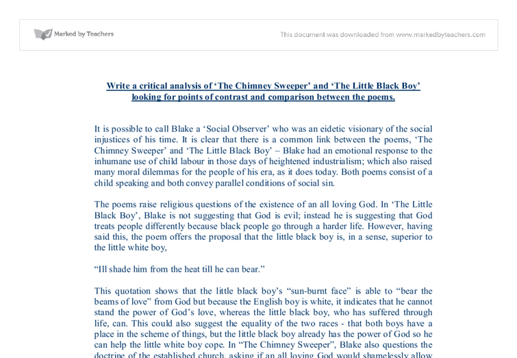 chimney sweeper comparison essay