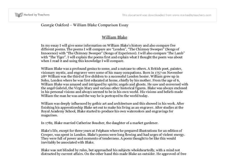 william blakes history and also compare five different poems essay Free coursework on comparison and contrast of william blakes poems from essayukcom, the uk essays company for essay, dissertation and coursework writing.