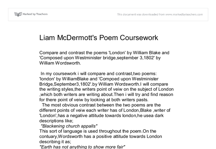 Comparison and contrast of william blake s