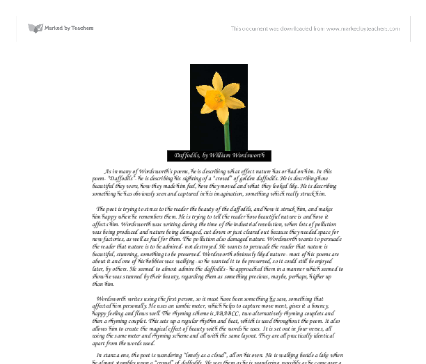 "an analysis of the poetry intertextuals in william wordsworths daffodilis William wordsworth's poem ""daffodils"" demonstrates that romanticism and the loneliness of a 2 responses to my analytical essay on ""daffodils"" by william."