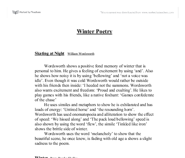 winter poetry skating at night william wordsworth gcse  document image preview