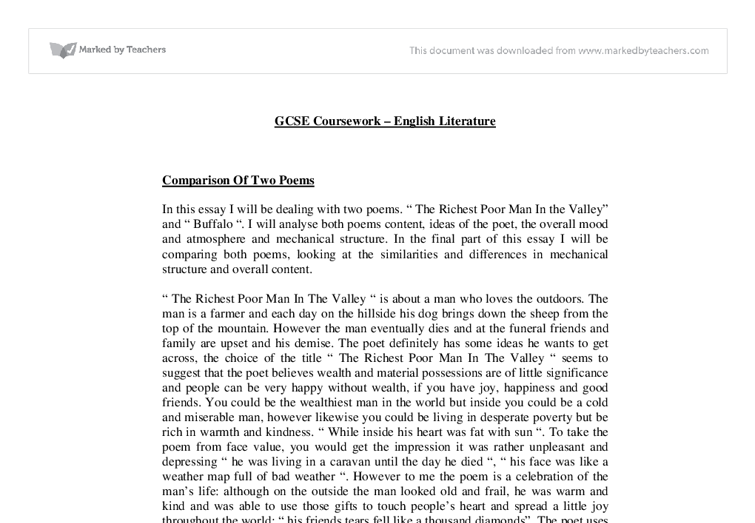 a comparison of two poems In this essay i will compare the two different poems 'human interest' and 'cousin kate' they are written by different poets, 'human interest' is written.