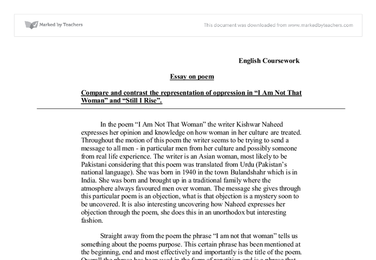 gcse english essay i am not that w and still i rise  document image preview