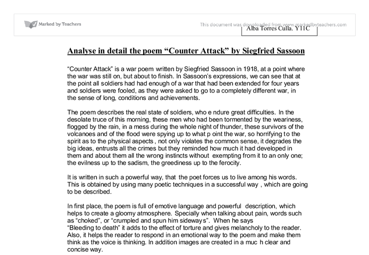"attack by siegfried sassoon essay Free essays essay comparing counter attack and the attack"" by siegfried sassoon are two poems counter attack and the soldier essay on comparing."