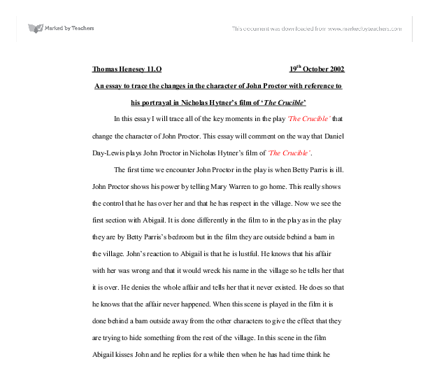 an essay to trace the changes in the character of john proctor  document image preview