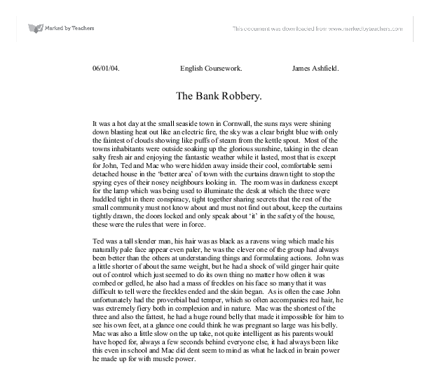 the bank robbery gcse english marked by teachers com document image preview