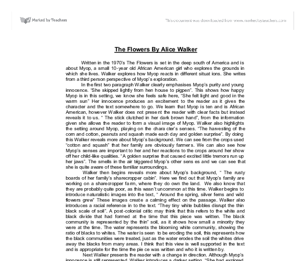 roselily by alice walker essays Roselily alice walker 1) describe the story's point of view how does the point of view affect your understanding of roselily's character and her circumstances what about your summary of the hanlon essay sd reply delete add comment.