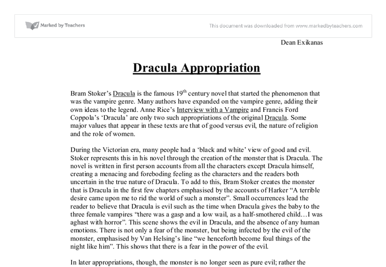 dracula essay good vs evil Dracula: bram stoker meets francis ford  bram stoker meets francis ford coppola  very visual and imaginative portrayal of the battle between good versus evil.