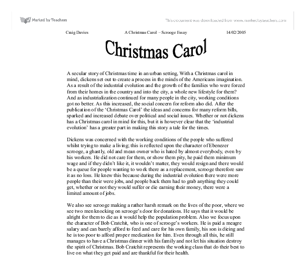 Good thesis for a christmas carol