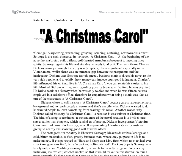 What is a good thesis statement for A Christmas Carol?