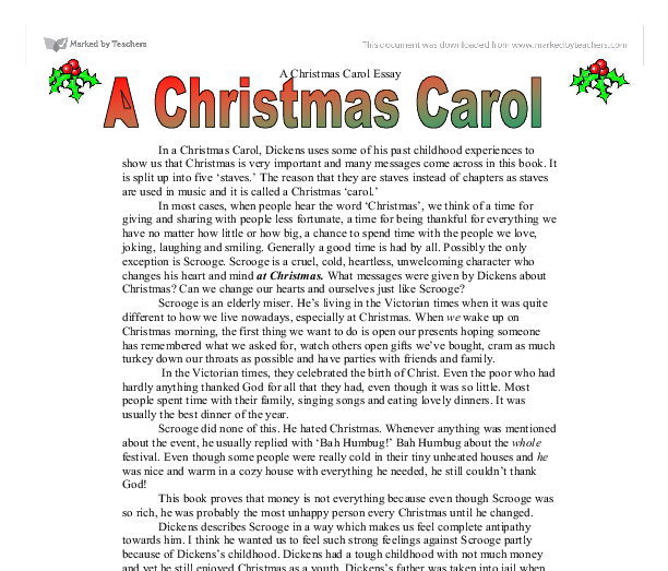 essay charles dickens christmas carol Jacob marley (1766 - 24 december, 1836) is a fictional character who appears in the charles dickens novel, a christmas carol in life, marley was the business partner of ebenezer scrooge.