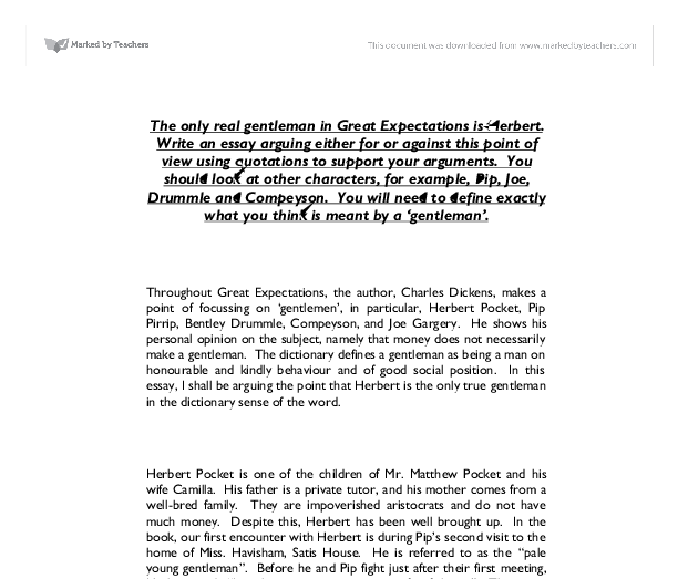 great expectations gentleman essay Realism was developed by the middle of the 19th century as a response to the idealistic world of romanticism which had dominated for the past half century.