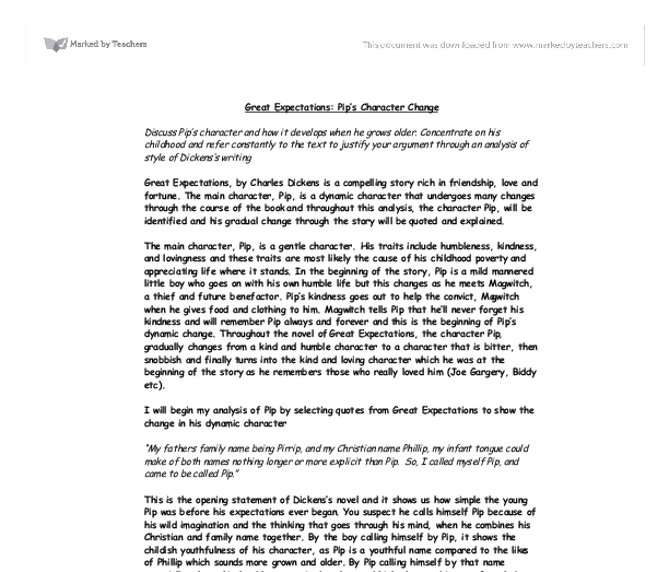 the great expectation essay The great gatsby and great expectations: a comparison charles dickens' great expectations and f scot fitzgerald's the great get your custom essay sample.