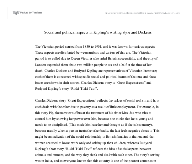 social and political aspects in kipling s writing style and  document image preview