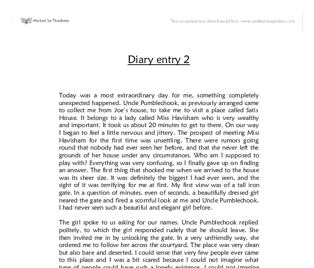 diary entry gcse english marked by teachers com document image preview