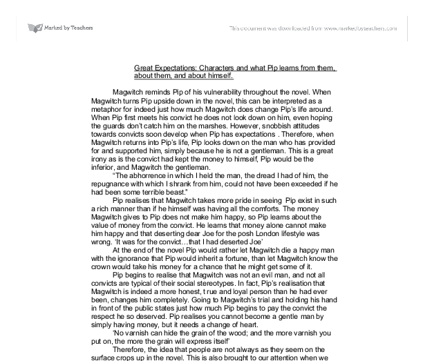 characters and what pip learns essay Great expectations essays what are your expectations in life are yours similar to anyone else in great expectations by charles dickens the main character pip has.