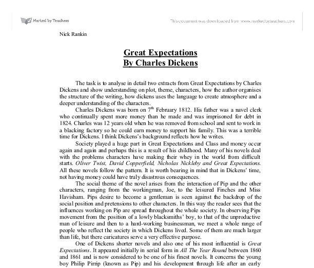 gcse essay on great expectations