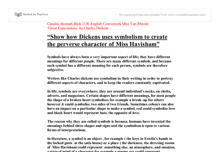 show how dickens uses symbolism to create the perverse character  document image preview