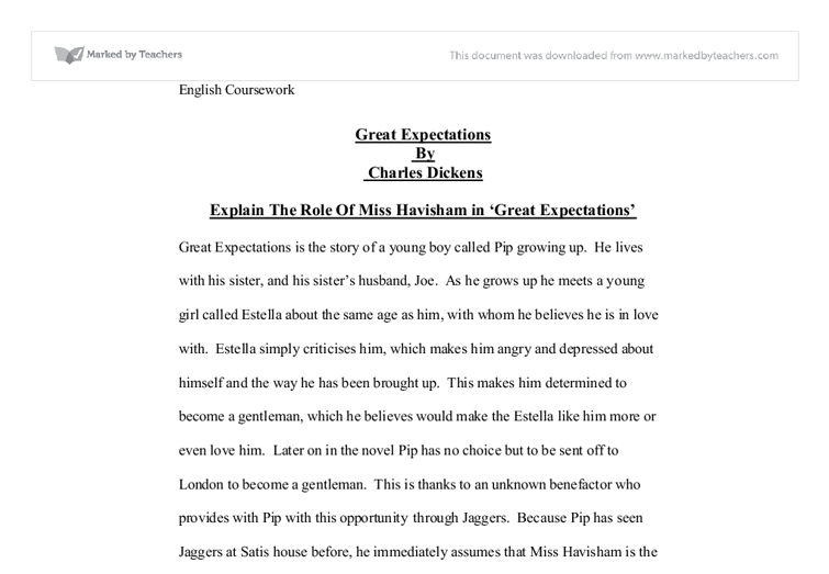 explain the role of miss havisham in great expectations great  document image preview