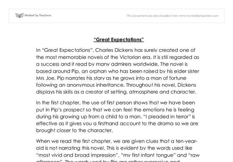 analysis of chapters in great expectation by charles dickens  document image preview