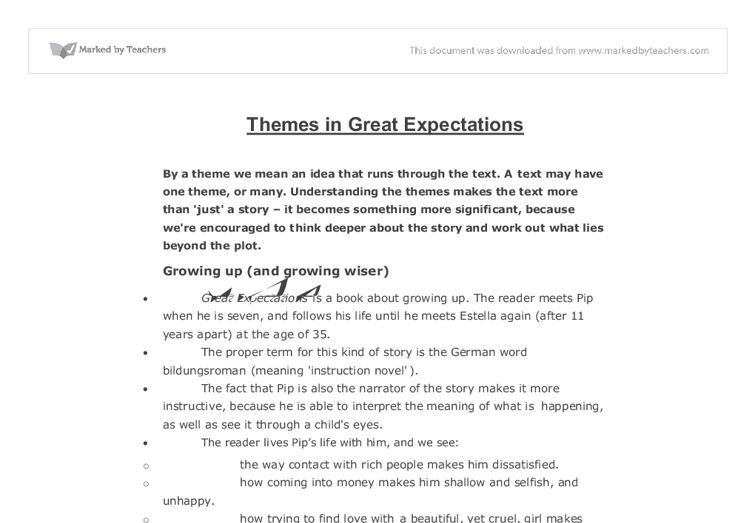 great expectations thesis Parents and children absent parents several of the main characters grow up without the love and support of their parents: pip is an orphan and only knows his parents from their gravestones.
