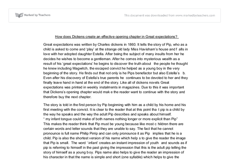 chapter one of dickens great expectations essay Great expectation chapters 1-10 summary essay by great expectation chapters 1-10 that i presented charles dickens's great expectations is a.