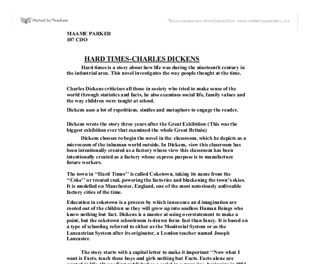 charles dickens hard times english literature essay Essays on charles dickens's a christmas carol 1  he students of english 498, the senior seminar,  (1843), bleak house (1853), and hard times (1854), and a .