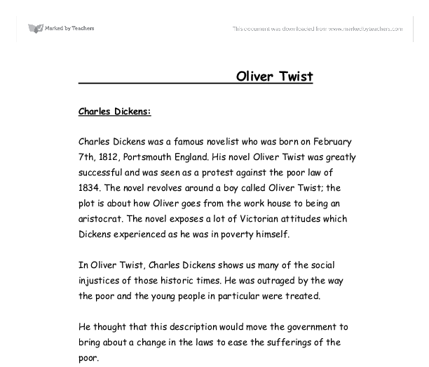 essay on oliver twist by charles dickens