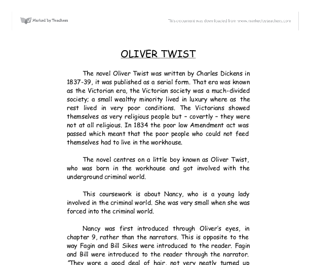 oliver twist thesis essay Suggested essay topics and study questions for charles dickens's oliver twist perfect for students who have to write oliver twist essays.