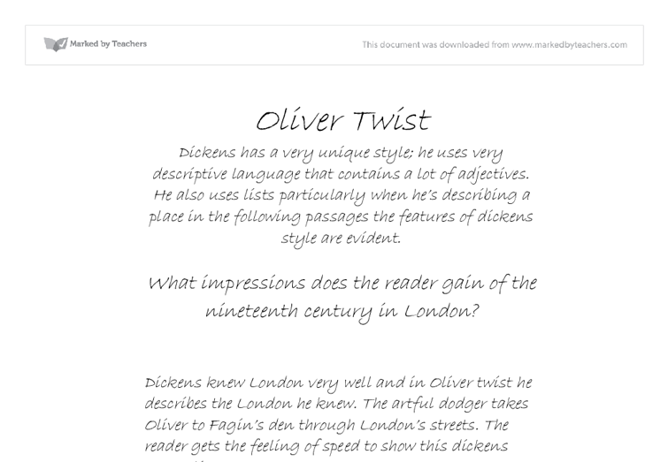 english olvier twist essay essay Significant quotes in charles dickens' oliver twist with explanations.