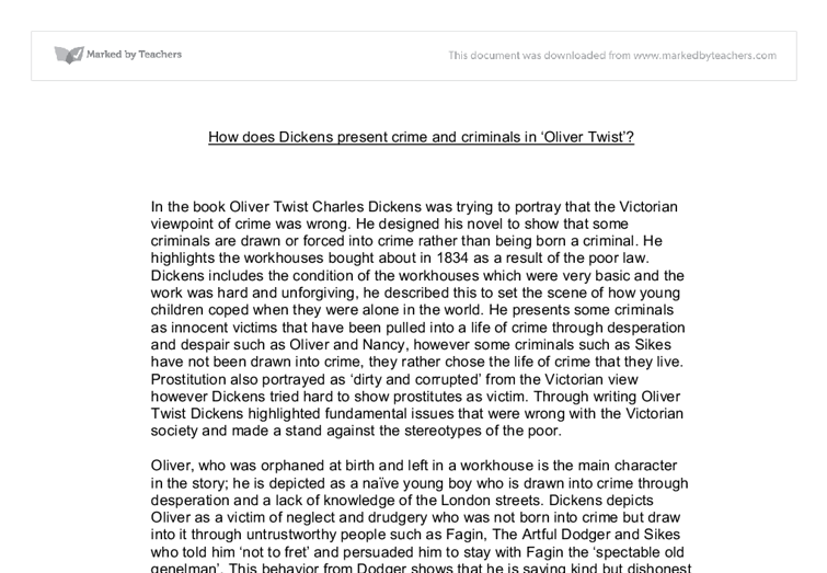 how does dickens represent crime and criminals in oliver twist  document image preview