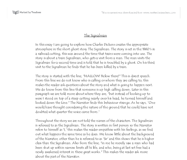 essay questions on the signalman An essay or paper on great suspense and tension in the signalman the signalman is a short story, which brings up great suspense and tension throughout the story.