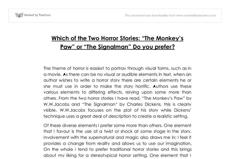 which of the two horror stories the monkey s paw or the  document image preview