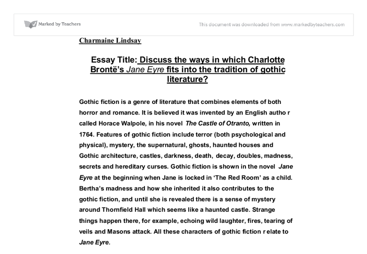 thesis on jane eyre Essays and criticism on charlotte brontë's jane eyre - critical essays  i thesis  statement: many aspects and experiences of charlotte brontë's life can be.