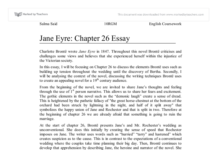jane eyre chapter essay gcse english marked by teachers com document image preview
